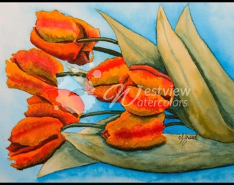 Teeming Tulips: 9x12 print of an original watercolor painting