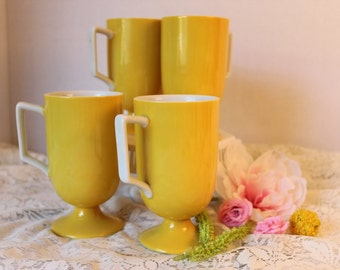 Vintage Yellow Footed Coffee Mugs / Teacups / set of 3/ 1970s