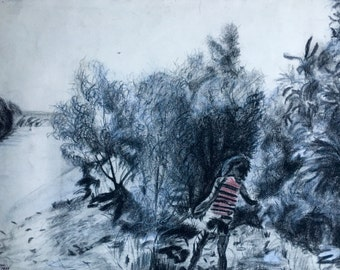 Moving Person in Mangroves  (set of 4 original drawings)