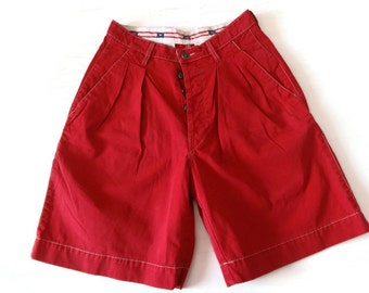 LEVIS Midi Shorts Red Cotton Vintage Shorts Red Shorts High Waist Shorts Levis Vintage Fashion 90s Vintage Clothes