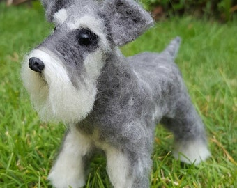 Handmade needle felted miniature schnauzer