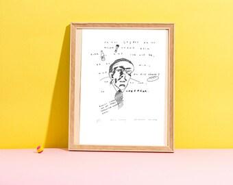 Daniil Kharms, unique, original painting, illustration, drawing, schurik