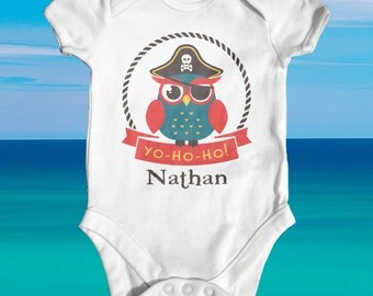 Yo Ho Ho Pirate Owl baby bodysuit | funny baby clothes | cute baby outfit | Pirate Bodysuit | baby shower gift | customised baby bodysuit