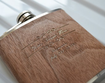 4 Engraved Walnut Hip Flasks. Uniquely Perfect Groomsmen Gift. Stainless Steel 6oz Flask with Walnut Veneer.