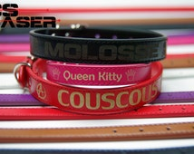 Dog or cat leather Pu custom laser name, logo to choose. SIZE S