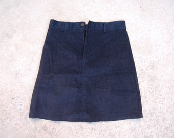 reworked navy cord skirt size 8/10