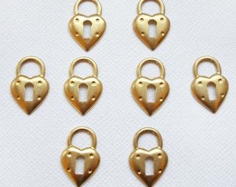 8 Raw Brass Heart Padlock Charms