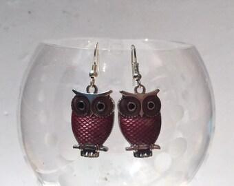 Silver and Purple Owls Earrings