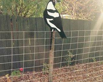 Magpie bird aluminium #gardenart #bird #gardenlovers #Tasmanianbird #gardening #gardenbird #backyardfun #handmade #norust
