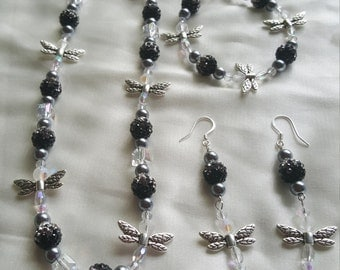 Silver And Black Dragonfly Bracelet By Emma Xolo