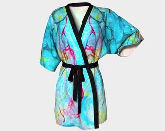 Vibrant Blue Kimono Robe Wedding Robes Bridesmaid Robe Kimono Knit Chiffon Bathrobe Bridal Robe Bridesmaid Gift Idea Original Abstract Art