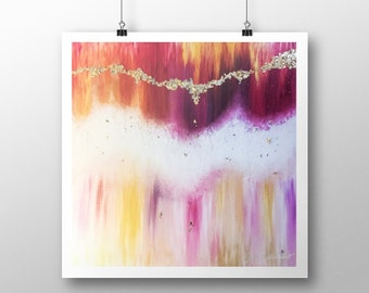 The Gratitude Frequency   Abstract Art Print   Abstract Painting Gold Art Modern Contemporary Red Purple Peaceful Zen