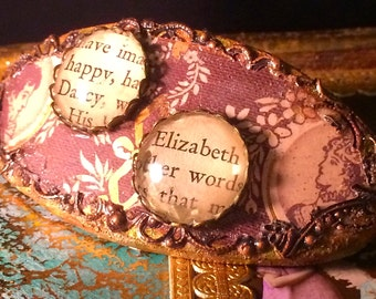 Pride and Prejudice decoupage barrette with 80mm clip Made in France