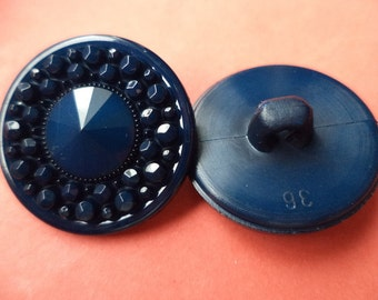 8 dark blue buttons 23mm (5458) button blue