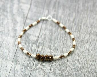 BRONZE Beaded Bracelet, Shinny Bracelet, Brown Bracelet, beaded Bracelet
