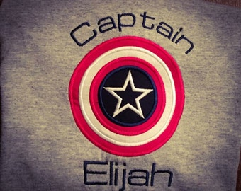 Personalized Embroidered Captain America Shirt