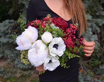 Peony Wedding Bouquet, Burgundy Bridal Bouquet, Roses Bouquet, Realistic Silk Flowers, White Red Wedding Bouquet, Alternative Bouquet