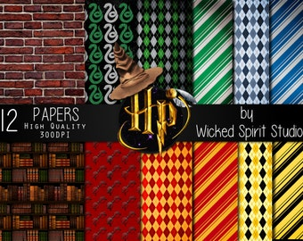 Harry Potter inspired Scrapbook Paper Set/ INSTANT DOWNLOAD/ Printable/ DIY/ Scrapbooking/ Paper/ digital paper/ textures/ crafts Hogwarts