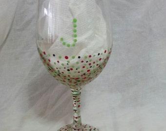 Poka Dot Wine Glass - Personalized