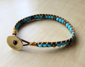 Leather Wrap Bracelet - Brown & Turquoise