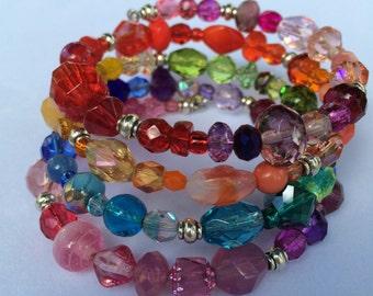 Multi-color/Rainbow Glass Bead Memory Wire 4-row Bracelet (Item # 201607-MB4-1)