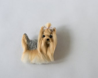 Needle felted brooch, Dog, Yorkshire Terrier