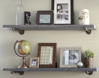 "8"" Depth Industrial Gray Wash Floating Shelve, Graywash Rustic Wall Shelf, Wood and Pipe Shelf. Farmhouse Gray Shelf"