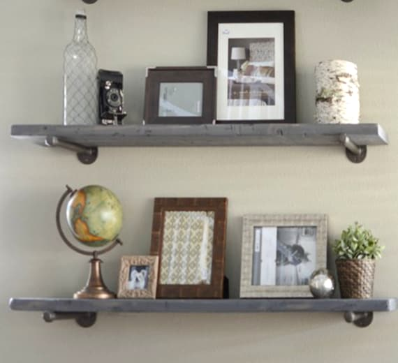 7 25 Depth Industrial Gray Wash Floating Shelves