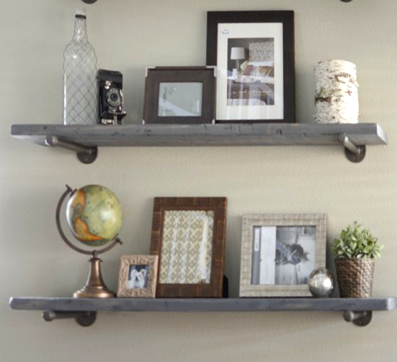 Rustic Kitchen Shelving 2 Shelf Combo 10 Deep Industrial Floating Shelves