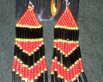 Red and Black Fringe Earrings