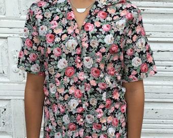 Rose Print Button Up Shirt - Size 10