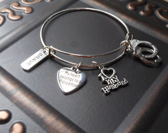 "Police Officer 's Wife ""My Heart Belongs To A Policeman""  Expandable Stainless Steel Silver Plated Bangle Charm Bracelet BRAVE"