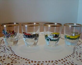 1970s Classic Cars shot glasses/retro/design/Ford/Rolls Royce/Morris/Daimler/red/yellow/white/black.