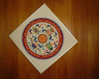 Lotus Pond Ming Dynasty Needlepoint 17 x 17