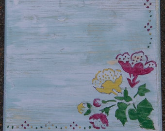 Wood Wall Art, Distressed, Vintage, Flower, Wall Art, Wood plaque, Hand Painted, Rustic Home Decor