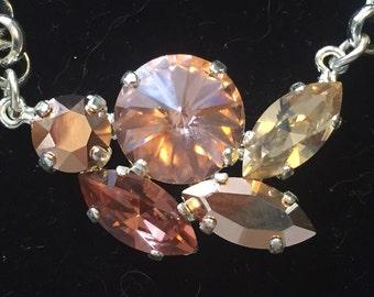Swarovski crystal cluster necklace - two color schemes