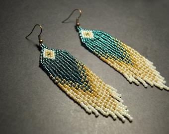 Beaded earrings, Boho style, long fringe earrings, beadwork jewelry, dangle earrings,  Native American style, seed bead earrings