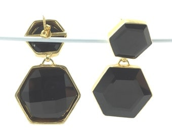 Gold-plated Sterling Silver Onyx Stone Earrings