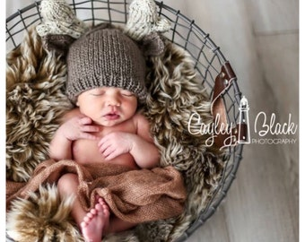 READY TO SHIP Newborn Knit Deer Hat or Photo Prop