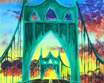 St. John's Bridge   Nathan Turner   Original Acrylic Painting on Canvas