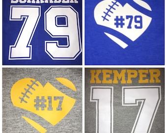 Football Shirt - parent mom shirt - Custom Football Shirt - Football Number - Football girlfriend - Favorite Player - Personalize with name