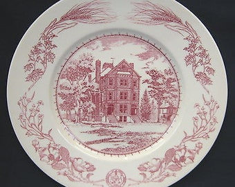 Wedgwood pink & white plaque - produced to commemorate the centenary of The University of North Dakota 1883 - 1983.