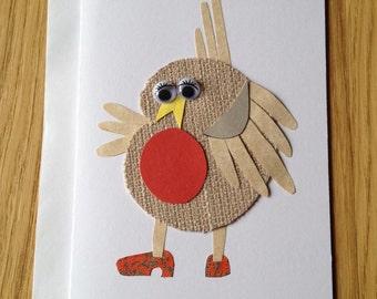 Dancing Bird Handmade Greeting Card - Robin