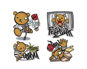 Cute Hip Hop Rap Teddy Harry Grateful Dead Bear Kid Devil Iron on Stickers Heat Transfer Paper Patches Skull Biker Funny Jdm Design T Shirt