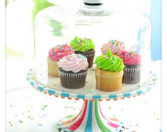 Glitterville domed cake plate