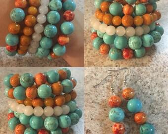 Turquoise & Orange bracelt/earring set