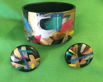 Vintage Splattered Painted Bracelet  and Pierced Earrings From Early 80s