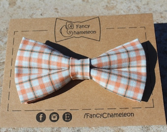 Orange & light blue checkered bow-tie, adjustable pre-tied bowtie, mens bowtie, boys bowtie, gifts for him, Fathers Day