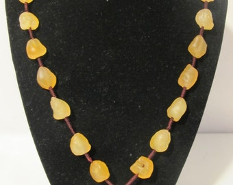Rustic Gold Yellow Spacial Agate Necklace