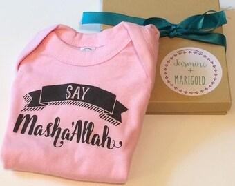 Say Masha'allah (TM)  Baby Bodysuit; Muslim Baby Gift